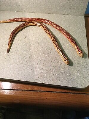 "2Vintage Wooden Articulated Jointed Toy Snake Figurine 20"" Rare"