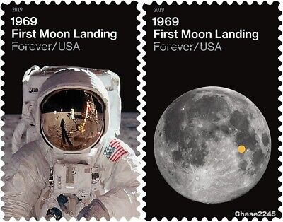 *NEW* 2019 First Moon Landing (Singles Set of 2) 2019 Mint NH -*In Stock*