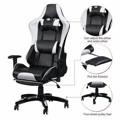 Office Chair Executive Racing Gaming Swivel Pu Leather Sport Computer Desk White