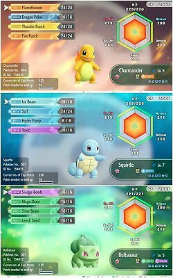 Pokemon Let's Go Pikachu & Eevee - ALL 3 Shiny starter Pokemon - 6IV