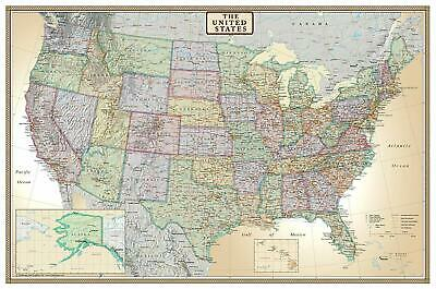 Wall Map Of The United States USA Road Travel Large Big Map Hanging Laminated