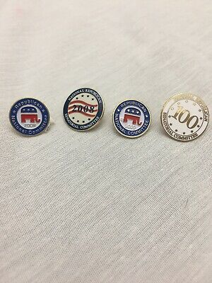 Lot Of 4 National Republican Committee Lapel Pins -see Descriptions