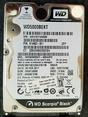 Western Digital WD Scorpio Black WD5000BEKT 500GB Internal 7200RPM 2.5 HDD