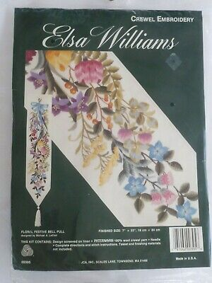 Elsa Williams Floral Festive Bell Pull Crewel Embroidery Kit Michael LeClair