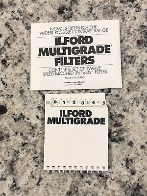 Ilford Multigrade Filters Speed Matched Set Of 12 31/2x31/2 Filters