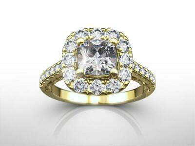 Ornate Diamond Ring Halo Set Vvs1 2 Carat Estate 18 Kt Yellow Gold Cushion