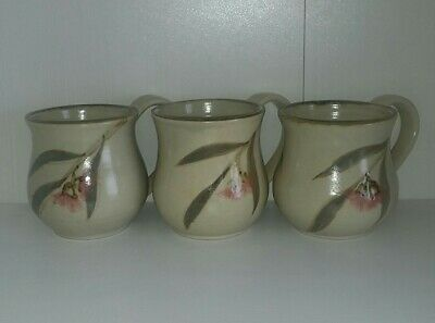3 Vintage Authentic Handmade Stoneware Pottery  Mugs Gumnuts by Possum VGC