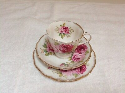 Vintage Royal Albert American Beauty trio cup saucer round plate set