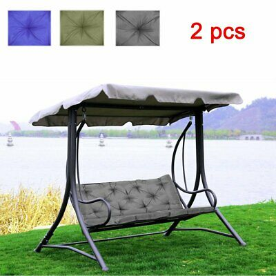 2PC 3 Seater / 2 Seater Bench Swing Seat Cushion Garden Furniture Pad Backrest