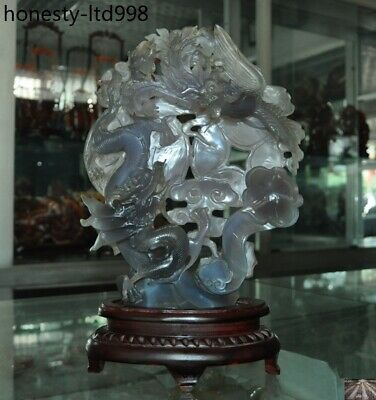 Rare Chinese Natural Agate Onyx Hand carved Dragon Phoenix Ruyi Feng Shui Statue