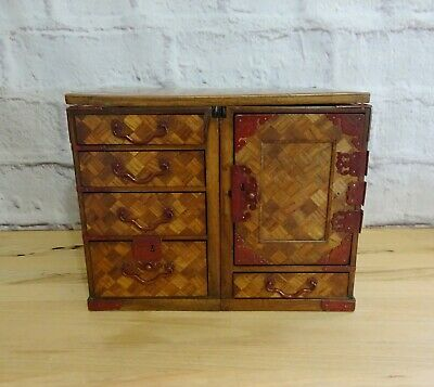 Antique Meiji Japanese Parquetry Travelling  Portable Writing Desk