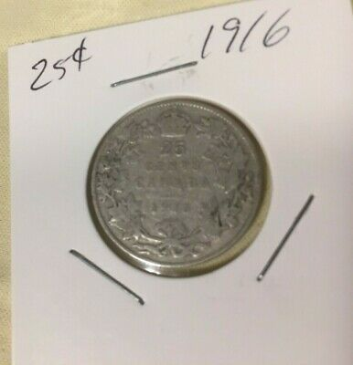 1916 Canada 92.5% silver 25 Cents.  Good filler coin, readable date and details.