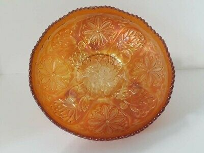 """Vintage Fenton Footed Carnival Glass Bowl Water Lily Marigold 9"""" Ice Cream Shape"""