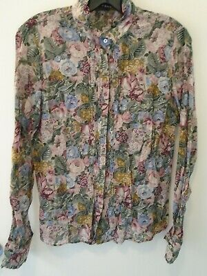 f9f8aa1072ee8b Authentic ZARA WOMAN Silk Floral Ruffle Front Button Shirt Top Blouse