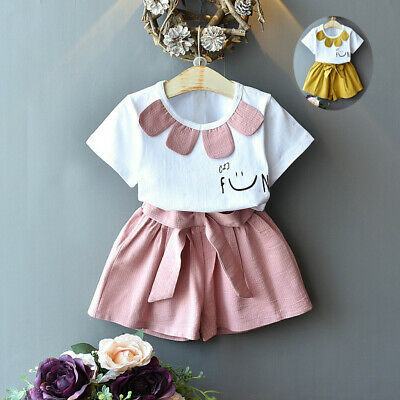 Infant Kid Baby Girl Summer Outfit Clothes Face Print T-Shirt+Shorts Set