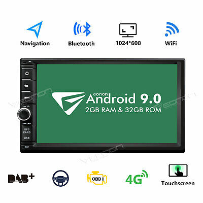 """7"""" 2DIN Android 9.0 OS Car Stereo MP5 Player GPS Nav WiFi Bluetooth Radio AUX-IN"""