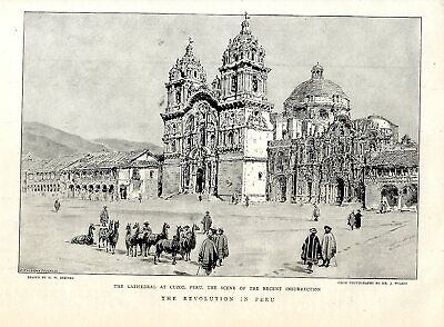 The Revolution in Peru Cathedral at Cuzco Scene Historical Print from 1894