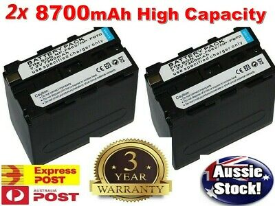 2x 7200mAh Backup Battery NP-F750 or LCD Charger For SONY NPF970 NP-F500 NP-F770
