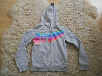Old Navy Light Grey Front Zip Hoodie With Rainbow/Peace Design - L/10 Yrs