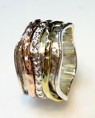 925 STERLING SILVER 10 gm HAMMERED SPINNER RING US SIZE 11.7 WITH BRASS/COPPER