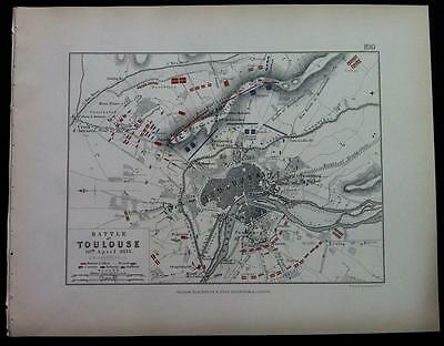 Map, Battle Plan TOULOUS c1814 Napoleonic War, Engraved A K Johnston, Hcol