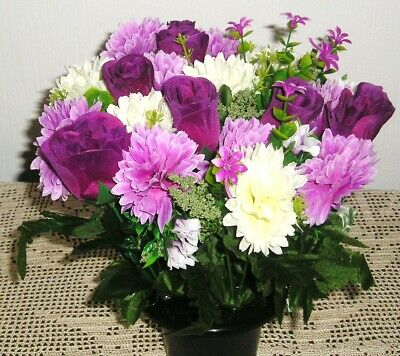 Quality Artificial / Silk Flower Arrangement Grave / Memorial /  Purple / Ivory