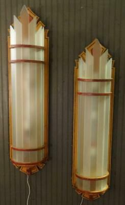 Fabulous Antique Wooden & Glass Art Deco Painted Huge Theater Wall Sconces (2)