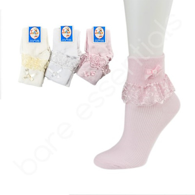 Back To School Rich Cotton Girls Jester Lace Ankle Socks In Range Of Colours