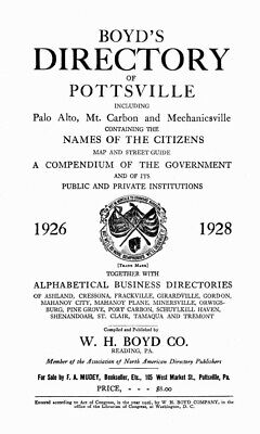 Schuylkill County, PA Directories 1919-1926 - Genealogy / History References