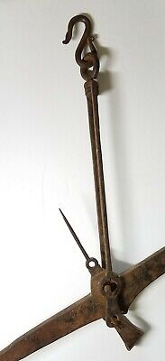 Antique Ornate Hand Forged Wrought Iron Meat Hook Balance Scale Marked HLNC 1768