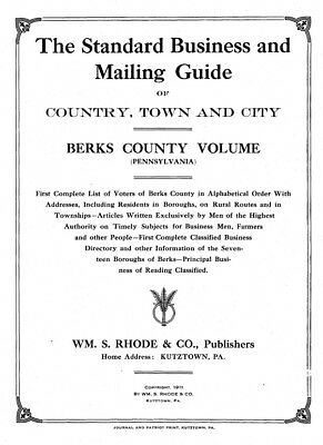 Berks County, PA Directories 1886-1928 - Genealogy / History References