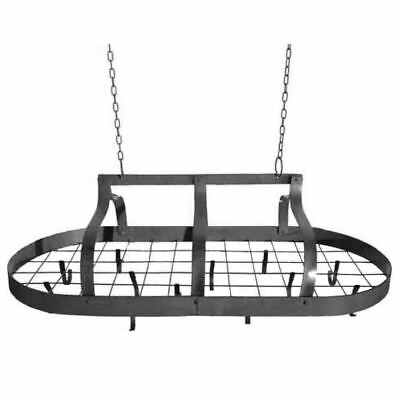 French Country Vintage Inspired Wrought Iron DARK POT RACK Hanging with Hooks...