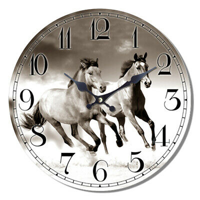 Clock French Country Vintage Wall Hanging TWO HORSES BLACK and WHITE Time 29c...
