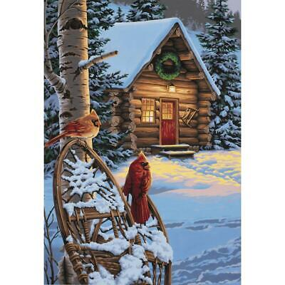 """PAINTWORKS Paint by Number Kit CARDINALS & CABIN 14"""" x 20"""" DIMENSIONS"""