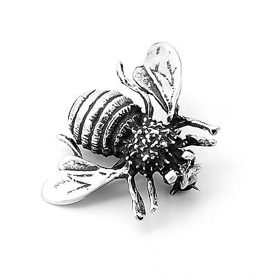 Hand Made Artisan Sterling Silver Bumble Bee Honey Bee Pin Brooch Taxco Mexico