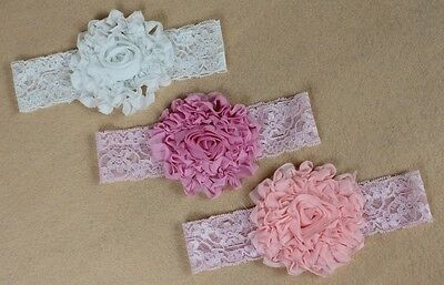 lace Flower Newborn Baby Infant Toddler Kid Girl Headband Christening Photo Prop