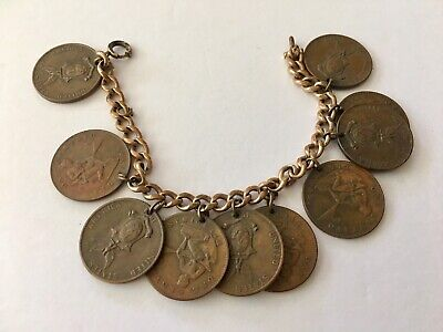 Vintage World War ll 1944 Philippines COIN Charm Bracelet Japan Special Issue