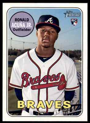 2018 Topps Heritage High Number Ronald Acuna Jr. Rookie #580 - Mint