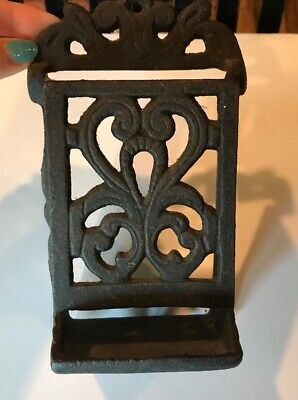 Antique Wall Mounted Heavy Cast Iron Match Box Holder Vintage Rustic Decor