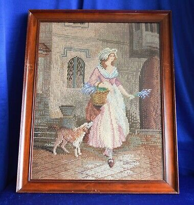 Antique Victorian Wool Tapestry in Mahogany Frame Glazed