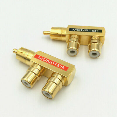 RCA Plugs Plated 1 Male to 2 Female AV Audio Video Splitter Plug RCA wholesale
