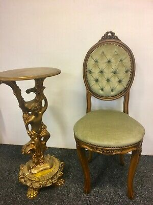 French Antique Style Ornate Chair Velvet Button Vintage Green