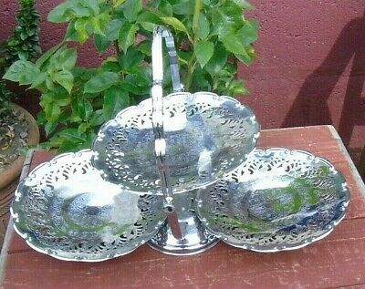 Vintage etched filigree chrome 3 tier folding cake stand,wedding tea room,party
