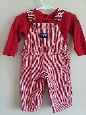 Vintage OshKosh Boys 6M Red White Striped Fleece Lined Overalls With Bodysuit