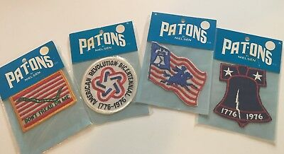 4 Pat-Ons Patches American Revolution Bicentennial Logo Stick On Emblem 1970s