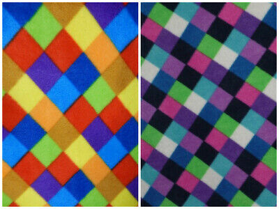 Polar Fleece Anti Pill Fabric Premium Quality Soft Multi Check Elmer Print Craft