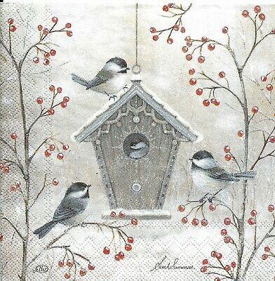 Lot de 3 Serviettes en papier Cocktail Oiseaux Nichoir Decoupage Decopatch