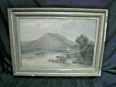 Large19TH Cen.Antique Oil Painting Woodland River Landscape with Cattle Watering