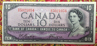 Bank of Canada 1954 10 Dollar Banknote Beattie Coyne D/D5021054 OFF-CENTRE PRINT