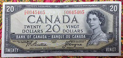 Bank of Canada 1954 20 Dollar Banknote Beattie Coyne F/E 0645465